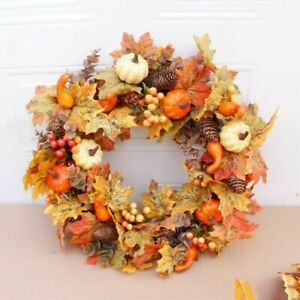 18 inch Halloween Fall Door Decor Maple Leaf Garland Autumn Color Pumpkin Wreath
