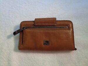 Kooba tan leather wallet  card holder  fold  over snap  side zippered  pocket