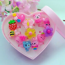12 Pcs Wholesale Mixed Lots Cute Cartoon Children/Kids Resin Lucite Rings & Box
