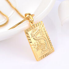 Fashion Womens Mens Dragon pendant Yellow Gold filled Fit chain necklace