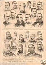 Serbia-Turkish War Great Eastern Crisis /Suleiman Pacha GRAVURE OLD PRINT 1876