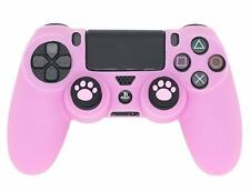PS4 Controller Skin Silicone Cover Protector with 2 Cat Paw Thumb Grips (Pink)