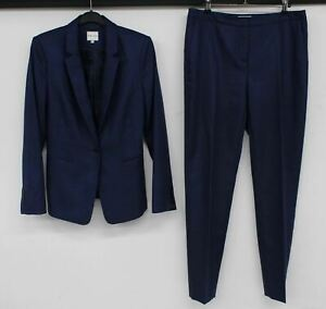REISS Ladies Navy Blue 2-Piece Single Breasted Jacket & Trouser Suit UK12 NEW