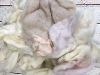 Merino Cream/Dusky Pink Coloured Wool -Off cuts - Pre Used 300g - Craft- Felting