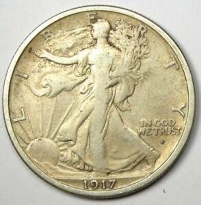 1917-S Walking Liberty Half Dollar 50C Obverse Mintmark Coin - VF Details
