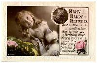 Antique RPPC real photograph postcard card Many Happy Returns Birthday