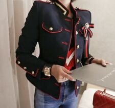 military navy red gold button fitted blazer jacket runway chic handcrafted