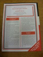 22/01/1992 Manchester United v Aston Villa [Programme Dated 21/12/1991 With Four