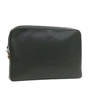 GUCCI Leather Briefcase Clutch Bag Black Auth 19578