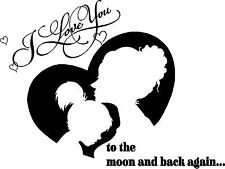 I love you to the moon and back Mom & girl silhouette  vinyl wall decal
