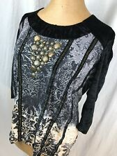 Biba velvet stitched Peasant Top Tunic Shirt Blouse L Large ruched Art to wear