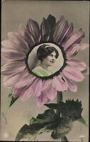 Ansichtskarte PK Farbdruck Künstlerkarte Kitschkarte Dame Frau gel. 1913 antik