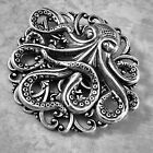 OCTOPUS BROOCH PIN Halloween Pirate Steampunk HAT PIN Antique Sterling Silver Pl