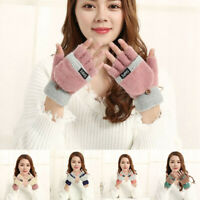 Gloves Womens Knitted Mittens Ladies Winter Half Capped Warm Fingerless 2 in 1