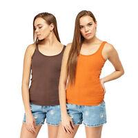 Ladies Summer Rbbed Cotton Vest Slim Fit Plain T-Shirt Women's Tank Tops UK 6-20