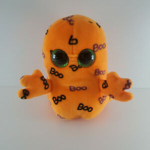 """Ty Beanie Boo Ghoulie The Halloween Orange Ghost Ghoul Monster 5"""" Plush"""