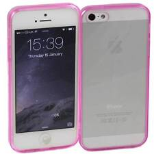 5 x PINK iPHONE 5 /5S APPLE HARD BACK CASES CLEAR TPU SILICONE BUMPER COVER M33