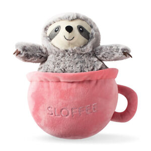Fringe Studio Sloffee Sloth in a Coffee Cup Plush Squeaker Dog Toy