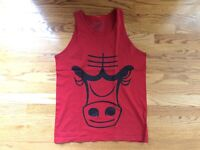 Chicago Bulls Big Logo Red Tank Top by ROT10 Mens Medium EUC NBA Basketball