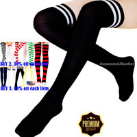 Cotton Strip Socks Tights Long Pantyhose Women Stockings Plus Size New Over Knee