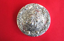 Lovely Gorham Electroplated repousse rose pattern round hand mirror (#250)