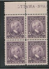Canada, 1927, #144, Laurier, partial plate inscription block, MNH