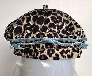 Children's Place Hat Sz 6-12 Months Leopard Pattern Aqua Lining Blue Ribbon Bows