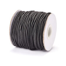 43yds/Roll 2mm Black Round Elastic Cords Stretchable Nylon Outside Rubber Inside