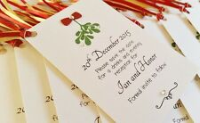 Set of 10 Personalised Handmade Christmas Mistletoe Wedding Save the Date Tags