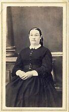 1860s Antique Victorian CDV Photo Woman Glasses Period Hoop Dress Teacher ??