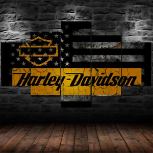 Framed X-Large Motor Harley Davidson Cycles Canvas Print Wall Art Home 5 Piece