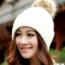Women Braided Crochet Wool Knit Beanie Beret Ski Ball  Baggy Winter Warm Hat WHT