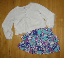 HANNA ANDERSSON WHITE SWEATER BLUE SCOOTER SKIRT GIRLS 120 SPRING FALL COTTON