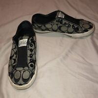 COACH EST 1941 Women's' Signature Slip-on Sneakers Black Canvas  Shoes Sz 6