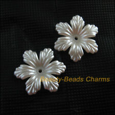 18 New Charms Acrylic Plastic Flower Leaf Spacer End Bead Caps White 24mm