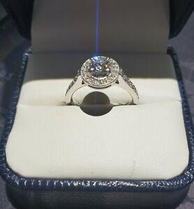 18k White Gold .50ct Round Diamond w/ plus .33 tcw Engagement Ring Size 6.5 Halo