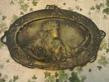 Antique stunning Pewter dish art nouveau , lady picking flowers absolute quality