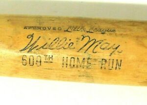 """ADIRONDACK 600JF Little League Willie Mays 600th Home Run Bat Flamed 31"""" Vintage"""