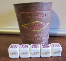 MEXICAN  SUPERIOR BEER VINTAGE ANTIQUE DICE GAMBLING LEATHER DICE CUP FROM 50's