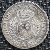 LOUIS XV 1/5 ECU AUX BRANCHES D'OLIVIER 1727 A