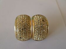 Christian Dior Pierced Earrings Gold Tone Pave Signed