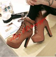 Women Platform Shoes Block High Heels Lace Up Pumps Ankle Boots Buckle Plus Size