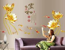 Golden lotus Chinese Home Bedroom Decor Removable Wall Stickers Decal Decoration