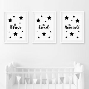 Monochrome Quote Baby Nursery Prints Decor Childrens Boys Girls Bedroom Pictures