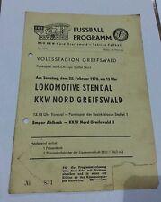 Programm 1970 KKW Nord Greifswald  Lok Stendal DDR Liga DDR Oberliga DFV Einheit