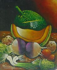 HAITIAN 8 X 10 STILL LIFE PAINTING ON CANVAS MASTER THELEMAQUE DOMINIQUE HAITI