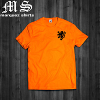 T Shirt NETHERLANDS Classic Lion logo Holland Dutch Cruyff Van Basten Soccer