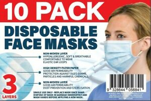FACE MASK DISPOSABLE - PACK OF 10