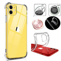 For iPhone 11 /11 Pro /11 Pro Max Clear Case Shockproof Cover+Ring Stand Holder