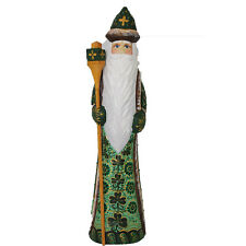 Unique Russian Hand Carved and Painted Wooden Irish Santa/grandfather Frost 10""